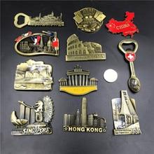 Puente Golden Gate de EE. UU., Berlín, Suiza, Singapur, Australia, Sidney, Italia, Roma, París, Las Vegas, China, mapa imán de nevera Souvenir