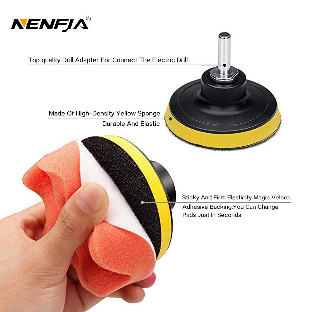 "7pcs 3"" Car Sponge Polishing Pad Set Polishing Buffer Waxing Adapter Drill Kit for Auto Body Care Headlight Assembly Repair 4"