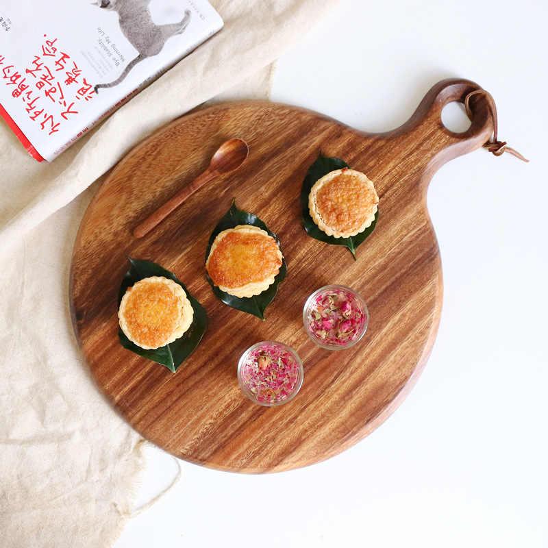 スクエア/長方形/オーバル全体木製キッチン切断ボード固体木製フルーツパンステーキ切削トレイプレートまな板