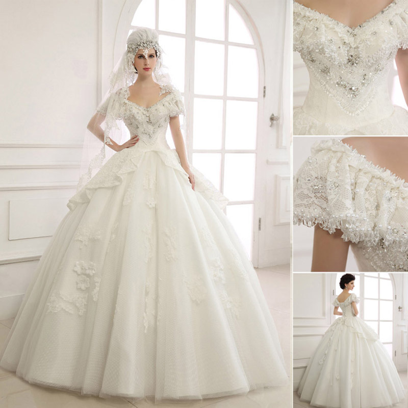 2018 Stock Luxury Shinning V-neck Crystal Beaded Pearls Women Bridal Real Sample Elegant Ball Gown  Mother Of The Bride Dresses