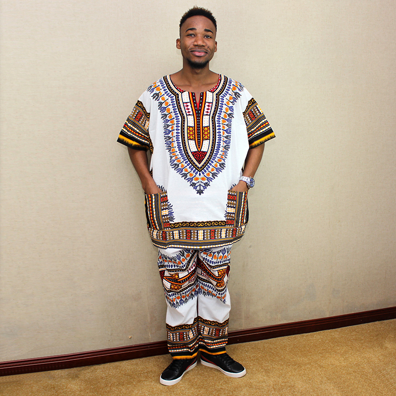 Nigeria Suit Shirt & Pant White Green Two Colors Unisex Dashiki  Casual Cotton African Clothes