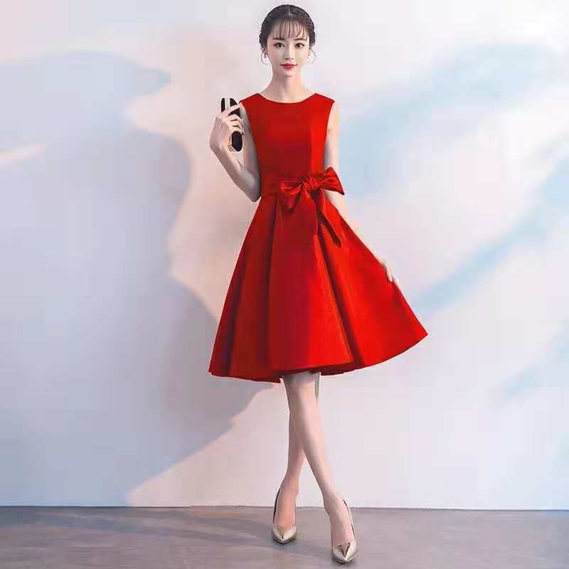 Dress For Toast Bride 2019 New Style Autumn & Winter Mid-length Marriage Engagement Short-height Slimming Fashion Dress Women's