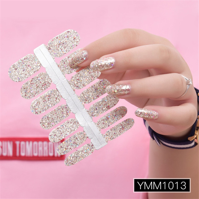 Brilho em pó gradiente cor adesivos de unhas envolve cobertura completa unha polonês adesivo diy auto adesivo decoração da arte do prego 29 cores