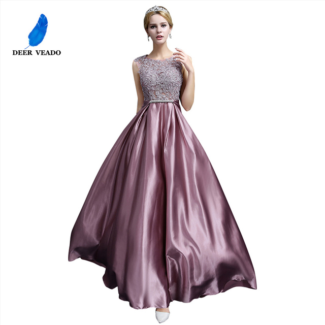 DEERVEADO S306 Sexy See Through Plus Size Prom Dresses A Line Floor length Long Formal Dress Evening Gown Robe De Soiree