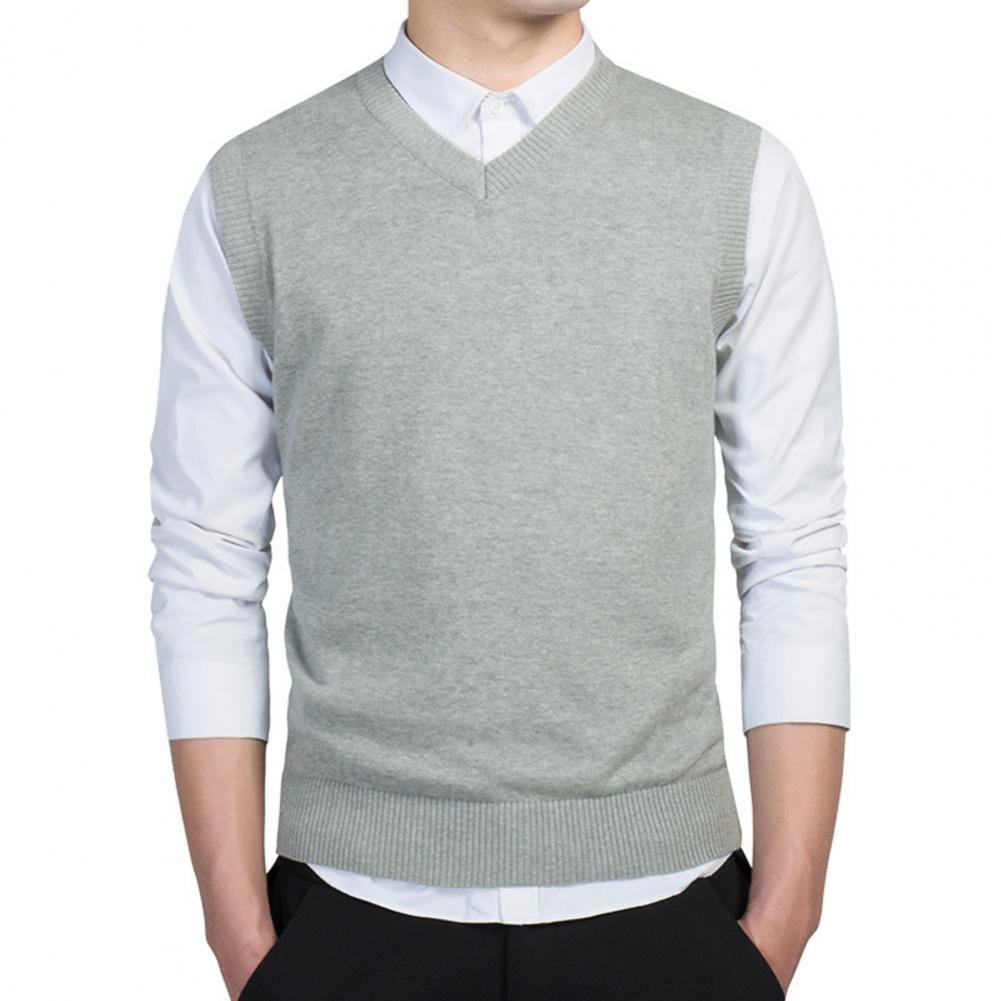 Men Autumn Winter Solid Color Sleeveless V Neck Knitted Sweater Business Vest 4