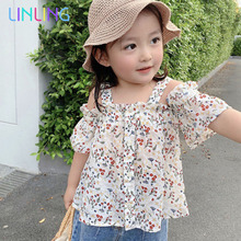 Girls Blouses Shirt Printed Floral Ruffle Kids Summer Cute for 1-6-Years Strap New-Arrival