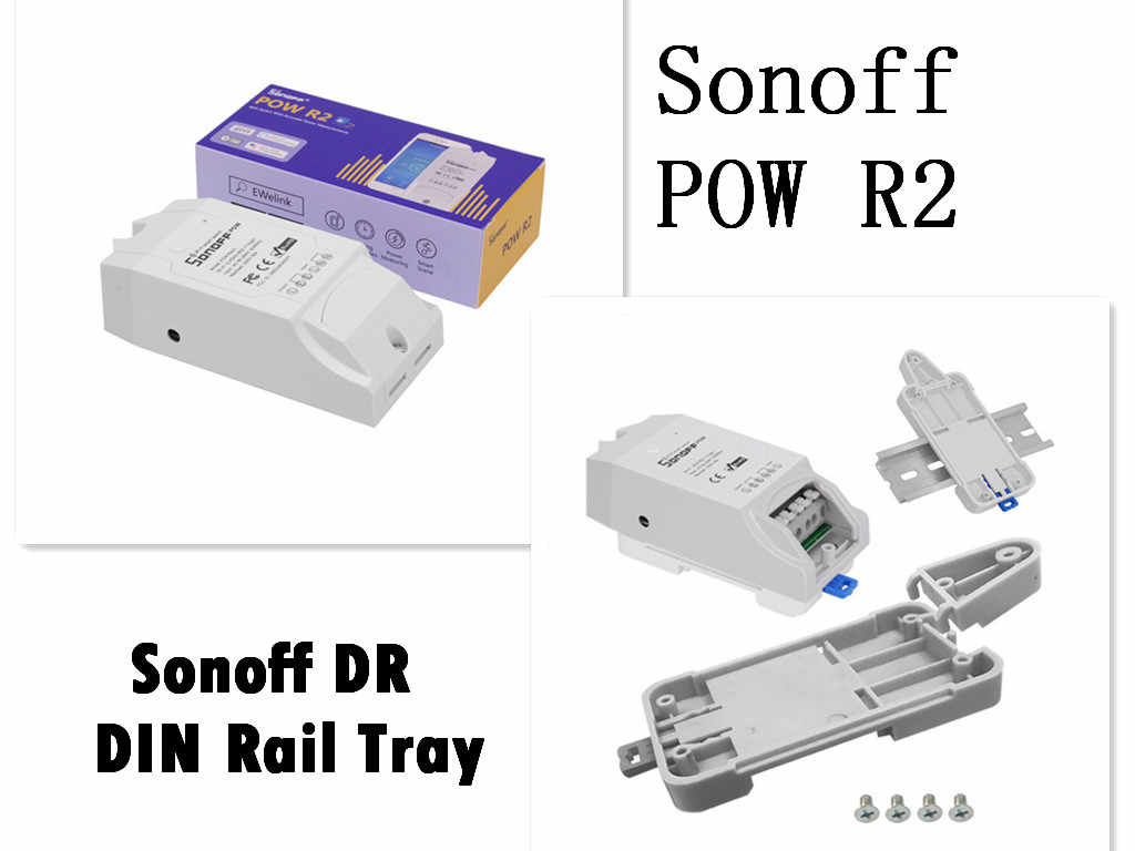 Sonoff POW R216A 3500W Wifi Switch Controller Real Time Power dan Sonoff DR-Sonoff DIN Rail Tray untuk smart Home Automation