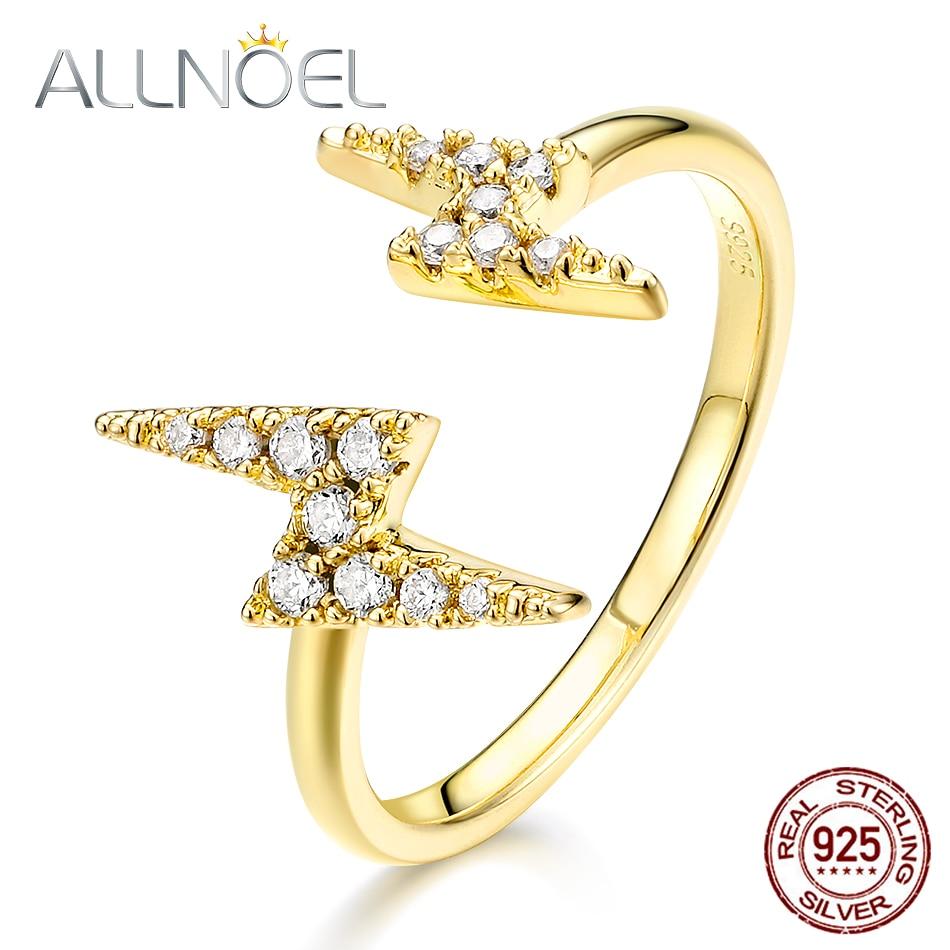 ALLNOEL Genuine 925 Sterling Silver Rings Gemstone Fine Jewelry For Women 5A Zircon Diamond Open Design Ring Wedding Gift New