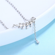 New Collection Fashion 925 Sterling Silver Clasp Charms Jewelry Necklace Cubic Stone Woman Leaf  Leaves Pendant Choker