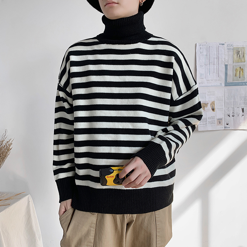 UYUK2109 Autumn And Winter New Casual Loose Fashion Trend Quality High Collar Striped Knit Men's Sweater Clothes Hombre