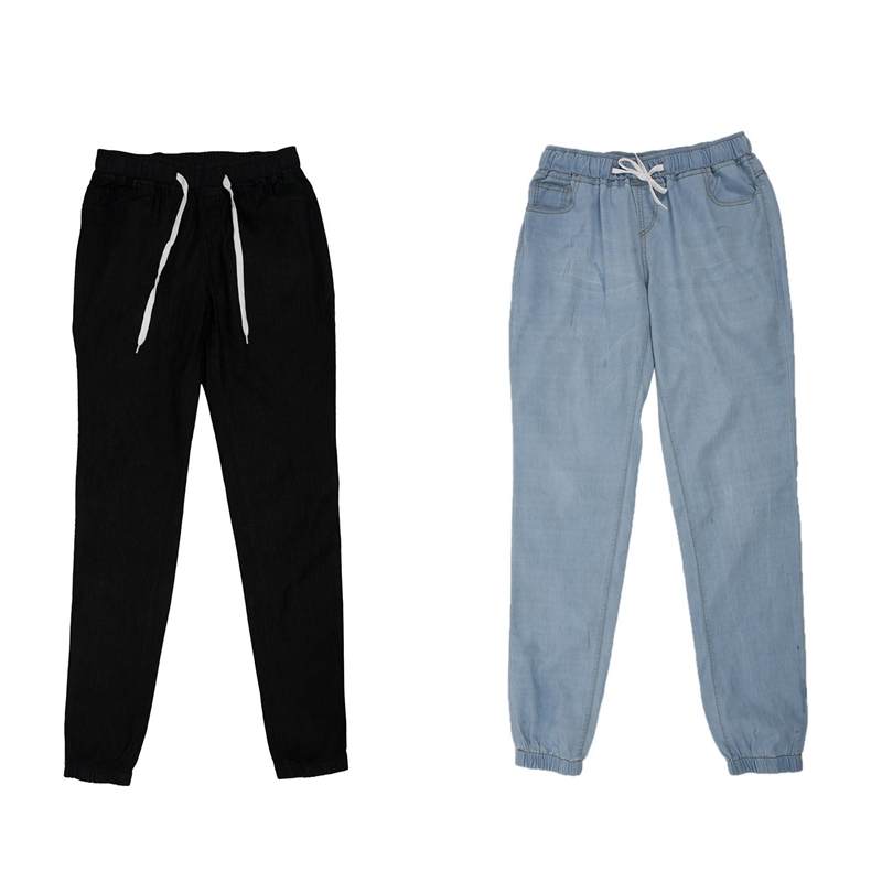 ABDB-2Pcs Women Casual Jogger Pants Drawstring Elastic Waisted Jeans Solid Ladies Denim Pants Slim Leggings Pants Xxxl - Black &