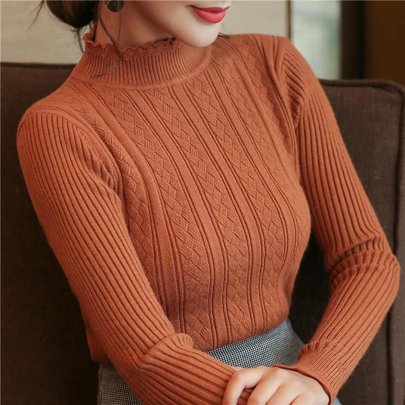 Sueter mujer invierno 2019 suéter de mujer Jerséis de mujer de cuello alto y jerseys Harajuku liso Jersey de punto mujer 6470 90