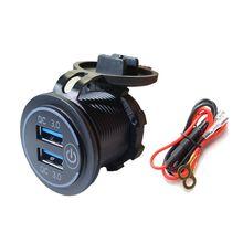 כפול QC3.0 USB מטען עם LED מגע על כיבוי עבור מכונית אופנוע נייד