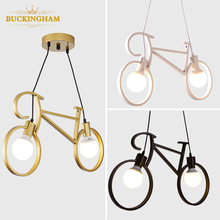 Lámpara colgante retro creativa bicicleta de hierro luz nórdica para sala de estar restaurante bar lámparas colgantes de personalidad industrial