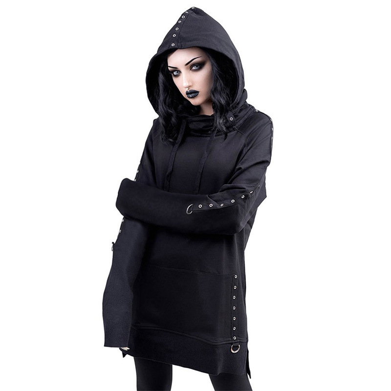 JIEZUOFANG Women Gothic Punk Sweatshirt Long Hoodies Black Retro Long Sleeve Sweatshirt Mental Ring Cool Hooded Loose CausalTop