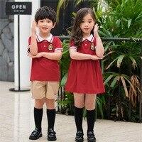 Kindergarten Suit Set Men And Women Children Summer England College Style School Uniform Korean style Dress Young STUDENT'S Busi