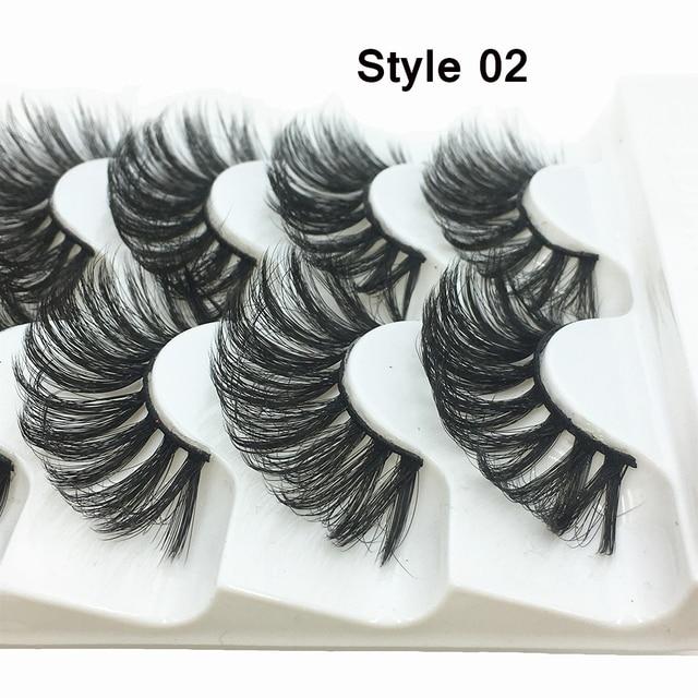 5 Pairs Faux Mink Hair False Eyelashes Natural Wispy Lashes Handmade Cruelty-free Criss-cross Eyelash Extension Big Eyes Makeup 5