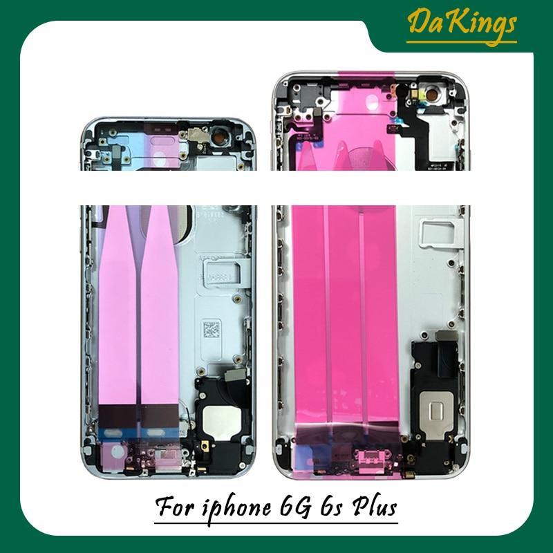 Alta qualidade habitação completa de volta para o iphone 6s 6 splus bateria capa porta traseira chassi quadro médio com cabo flexível montagem|Estojos de celular|   -