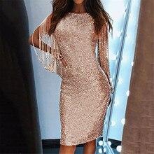Robe Elegant Dress Sequined Long-Sleeved Sexy Women Club-Sheath Stitching Glitter Shining