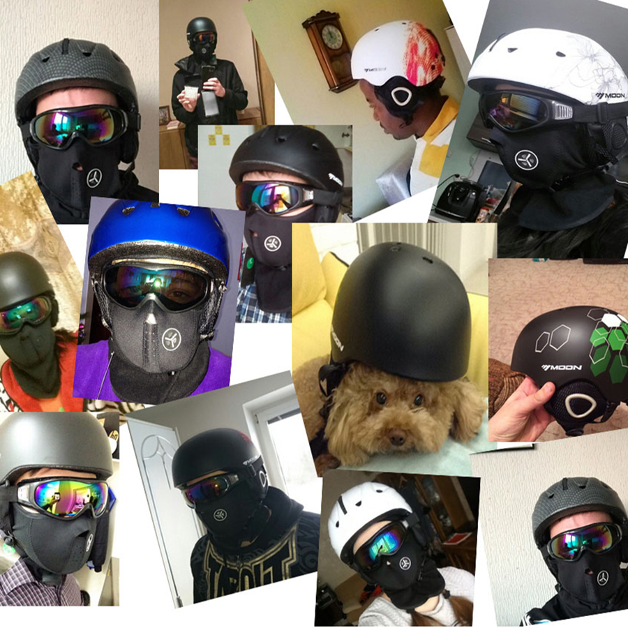 Casco de esquí de luna de gran oferta, casco de esquí integrado moldeado para adultos y niños, casco de nieve de seguridad, monopatín, casco de Snowboard
