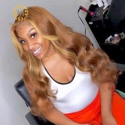 Медовый светлый кружевной передний парик, 360 кружевной передний парик, предварительно отобранный полный парик из человеческих волос, цветн...
