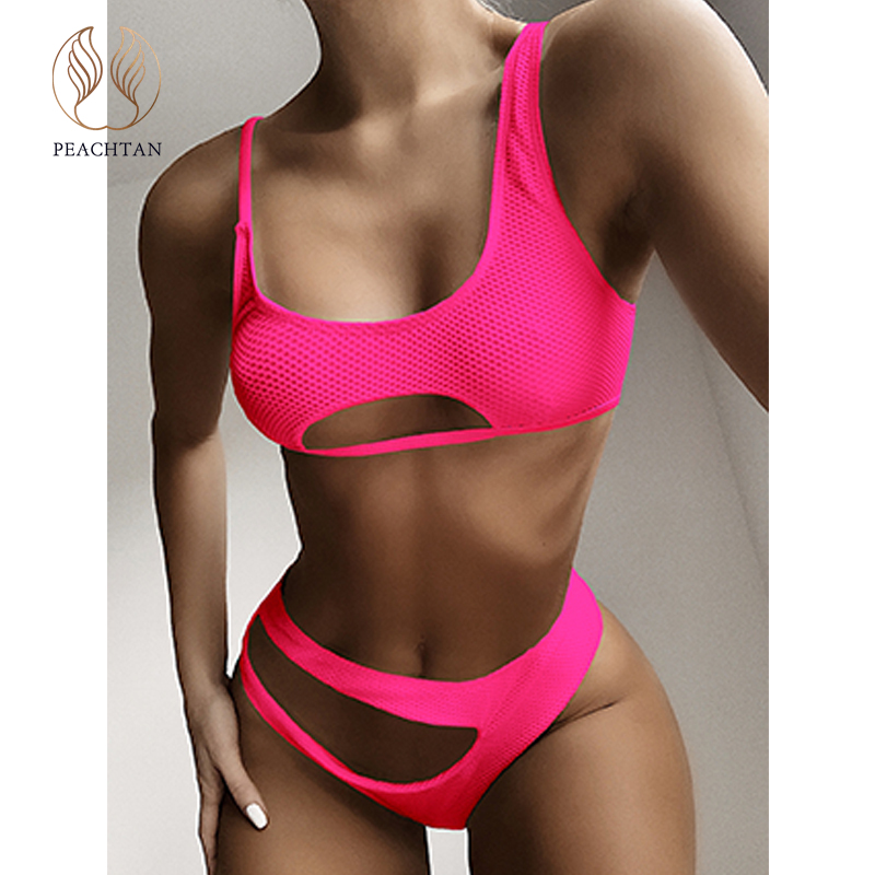 Peachtan Vintage Bandeau Bikini 2020 New Hollow Out Swimsuit Female Extreme Bikini High Cut Swimwear Women Bathers Bathing Suit