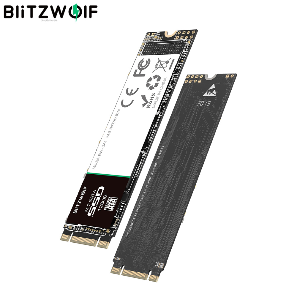 BlitzWolf M.2 SATA 6Gb/s SSD 128GB /256GB / 512G With High-Speed Read/Write Large Capacity Stable Performance Silent Operation