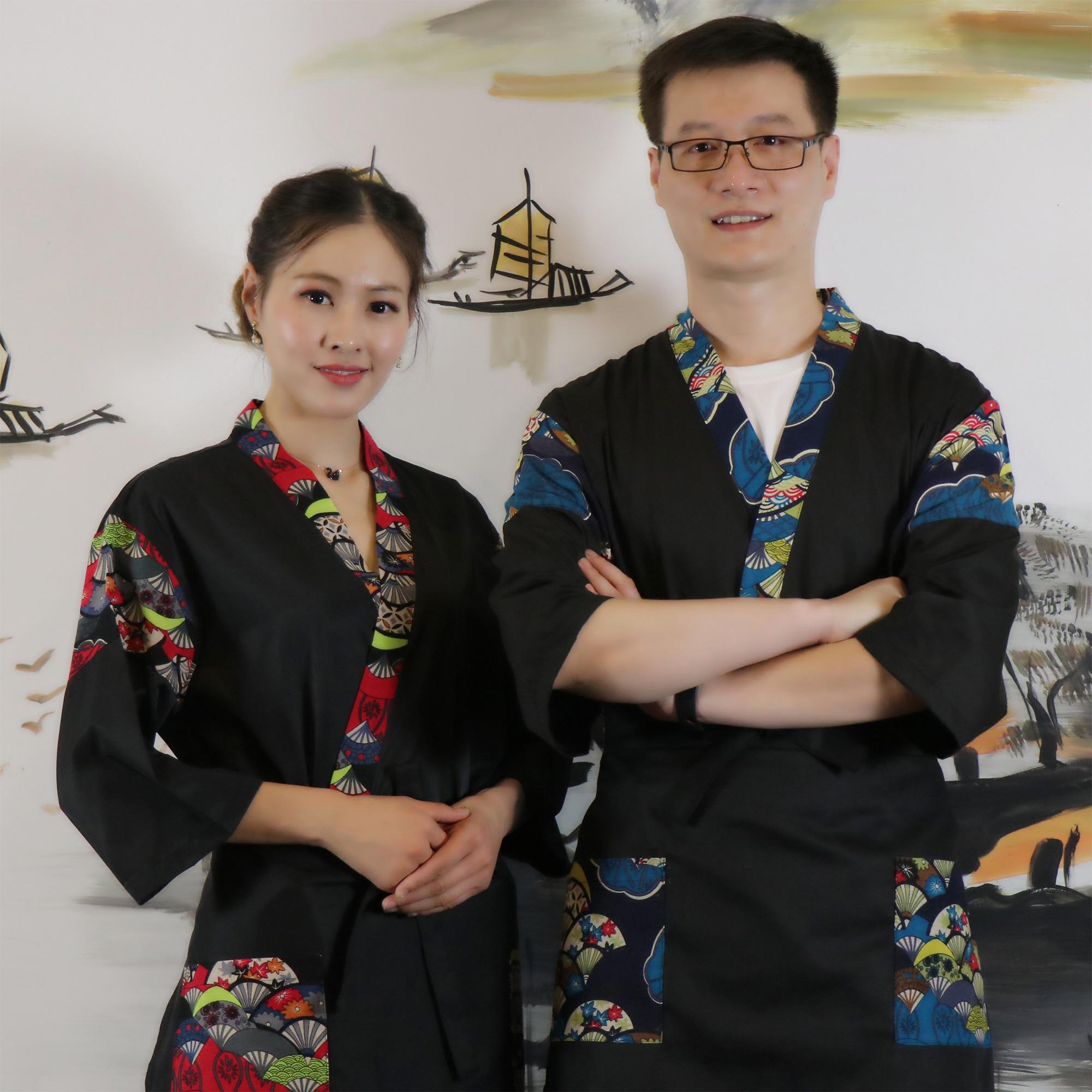 Custom Japanese Style Chef Uniform Restaurant Kitchen Cuisine Cook Uniforms Kimono Sushi Cook Clothes Medium Sleeve Unisex