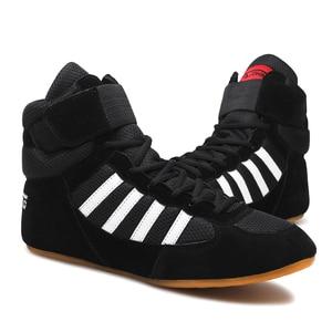 USHINE-zapatos de boxeo KungFu para entrenamiento profesional, bóxer de piel de vaca con cordones, equipo de entrenamiento para gimnasio