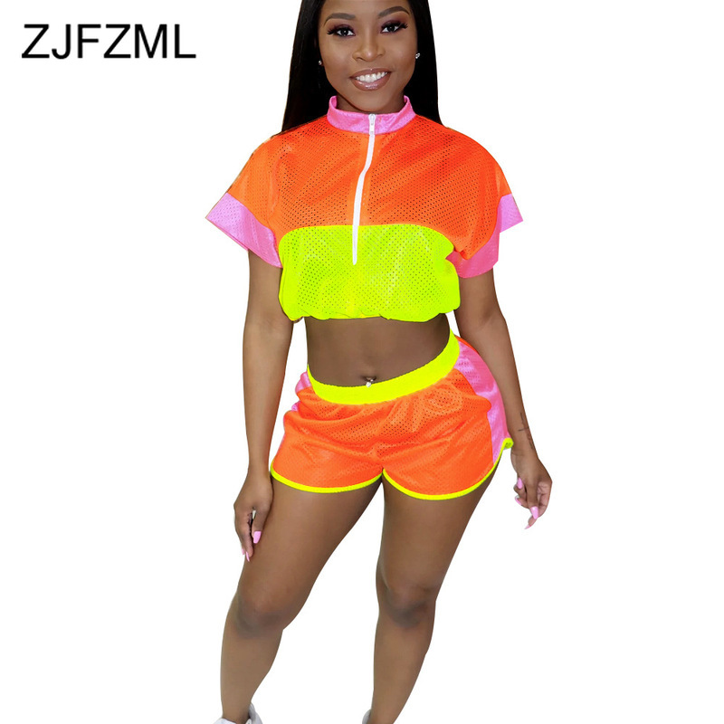 Neon Color Block Sexy 2 Piece Set Summer Clothes For Women Stand Collars Short Sleeve Zipper Front Crop Top + Shorts Mesh Outfit