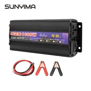 SUNYIMA 1PC Pure Sine Wave Inverter DC12V/24V/48V To AC220V 50HZ 1600W Power Car inversor Converter Booster For Household DIY sunyima inverter dc12v 24v 36v 48v 60v to ac1000 2000 2800 3600 4000w pure sine wave high power frequency inverters transformer