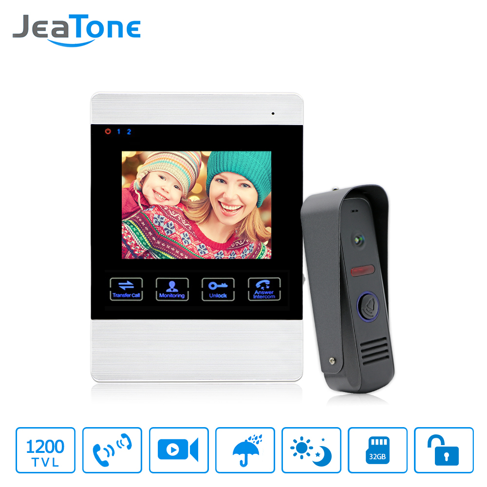 Sistema de Campainha de Vídeo 4 JeaTone Polegada 1200TVL Monitor de Câmera de Visão Noturna À Prova de Chuva Ao Ar Livre E Indoor Kit Do Telefone Intercomunicador