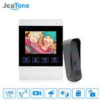 JeaTone Video Türklingel System 4 Zoll 1200TVL Regendicht Nacht Vision Außen Kamera Und Innen Monitor Tür Gegensprechanlage Telefon Kit
