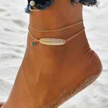 Hello Miss Fashion retro anklet alloy feather pendant double womens jewelry holiday gift
