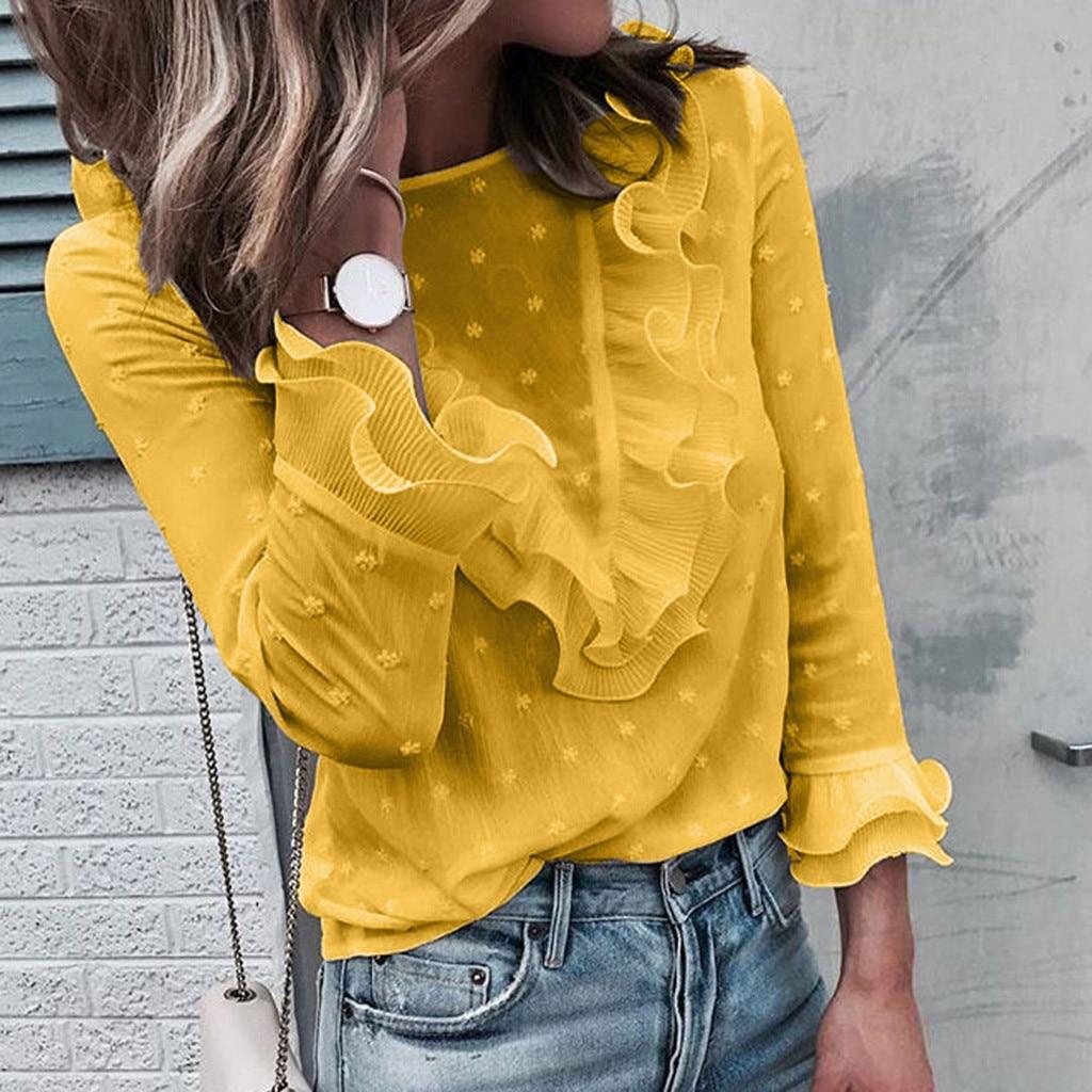 Autumn Long Sleeve Women Tshirt Lace Polka Dot O Neck Casual T shirt Ladies Tops Women Korean T Shirt Camiseta Mujer #K20