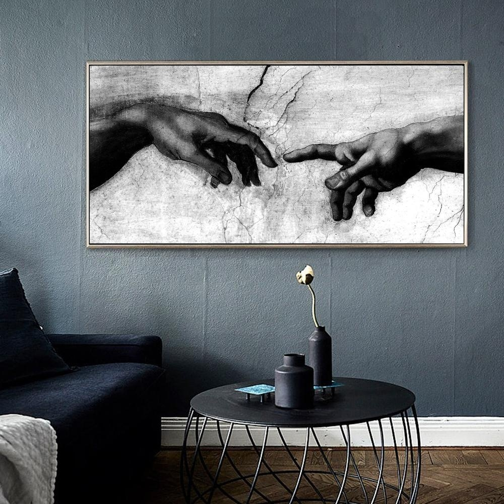 Black & White Canvas Art Print Home Decoration Wall Art Canvas Painting Hand of God Creation of Adam Oil Painting on Canavs