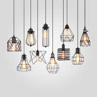 Lampshade Pendant Light Lamp shade Loft DIY Metal Cage Bulb Guard Clamp Wrought Iron Wall lamp Home Decoration lighting