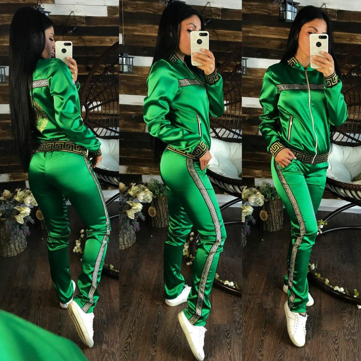 Fashionable Sports Casual Suit For Women's Slimming Fashion Pure Color Printing Autumn And Winter Two-piece Set