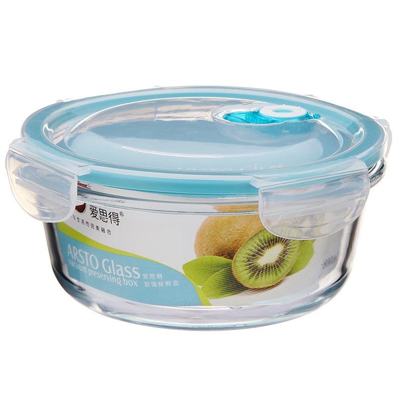 Home Daily Use Borosilicate Circle Glass Crisper & Vegetable Fruit Sealed Storage Box Children Auxiliary Bowl
