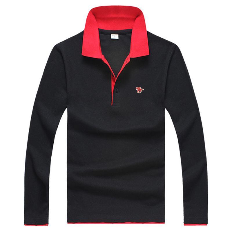 M-4XL 2019 New Men's long sleeve   polos   shirts casual mens cotton lapel   polos   shirts fashion mens slim tees 5 Colors