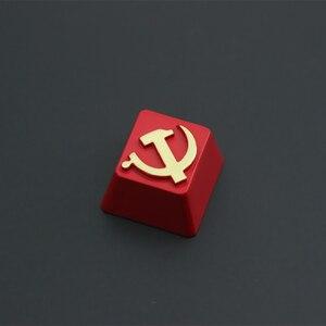 Image 4 - KeyStone Keycap 1 stücke Sowjetischen thema aluminium legierung metall mechanische tastaturen tastenkappen R4 höhe für Cherry MX achse