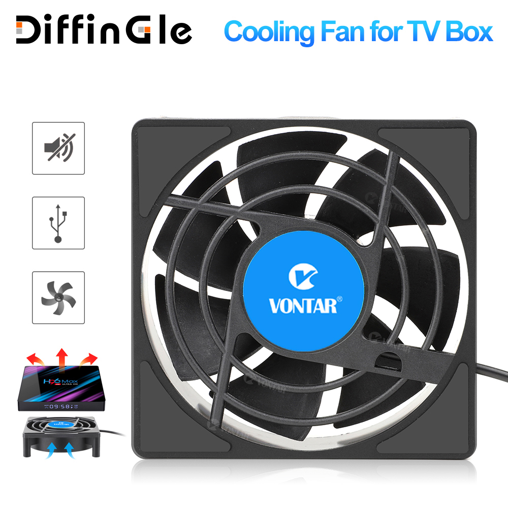 VONTAR C1 Cooling Fan for Android TV Box Set Top Box Wireless Silent Quiet Cooler DC 5V USB Power 80mm Radiator Mini Fan