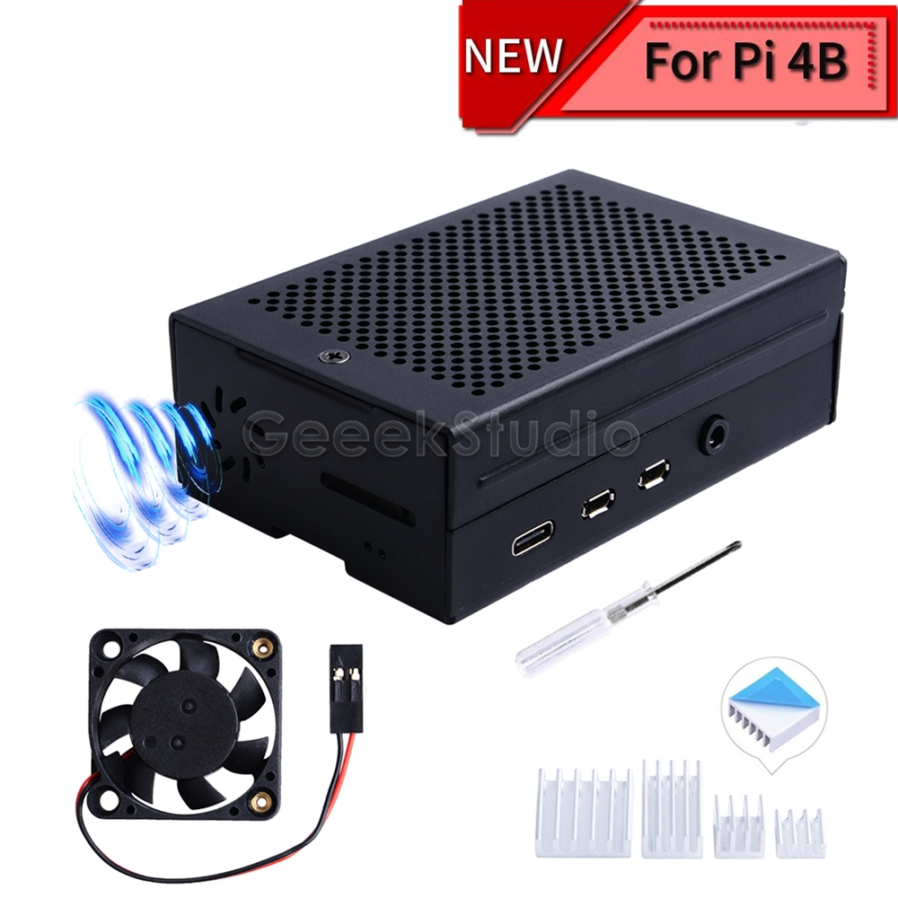 New Aluminum Enclosure Cover Metal Case Black / Silver With Suspension Cooling Fan Heatsink For Raspberry Pi 4B Pi 4 Model B