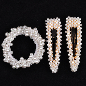 14 Colors Woman Elegant Pearl Hair Ties Beads Girls Scrunchies Rubber Bands Ponytail Holders Hair Accessories Elastic Hair Band 22