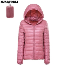 MJARTORIA Winter Down Coats Women Candian Goose Casual Hooded Solid Warm Fashion Wild Jacket Top Ultra-Light Down Outerwear 2019 цена