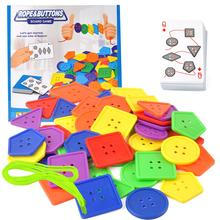 Kids Button Thread Toy Colorful Geometric Buttons Lacing Thread Stringing Beads Educational Developmental Kids Toy chinese rings tradictional developmental toy