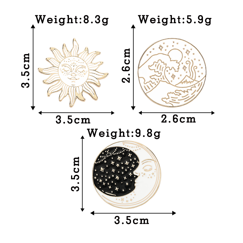 Cartoon Waves Brooch Vintage Sun and Moon Round Enamel Pins Adventure Explore Camping Badges for Women Shirts Lapel Pin Jewelry 6
