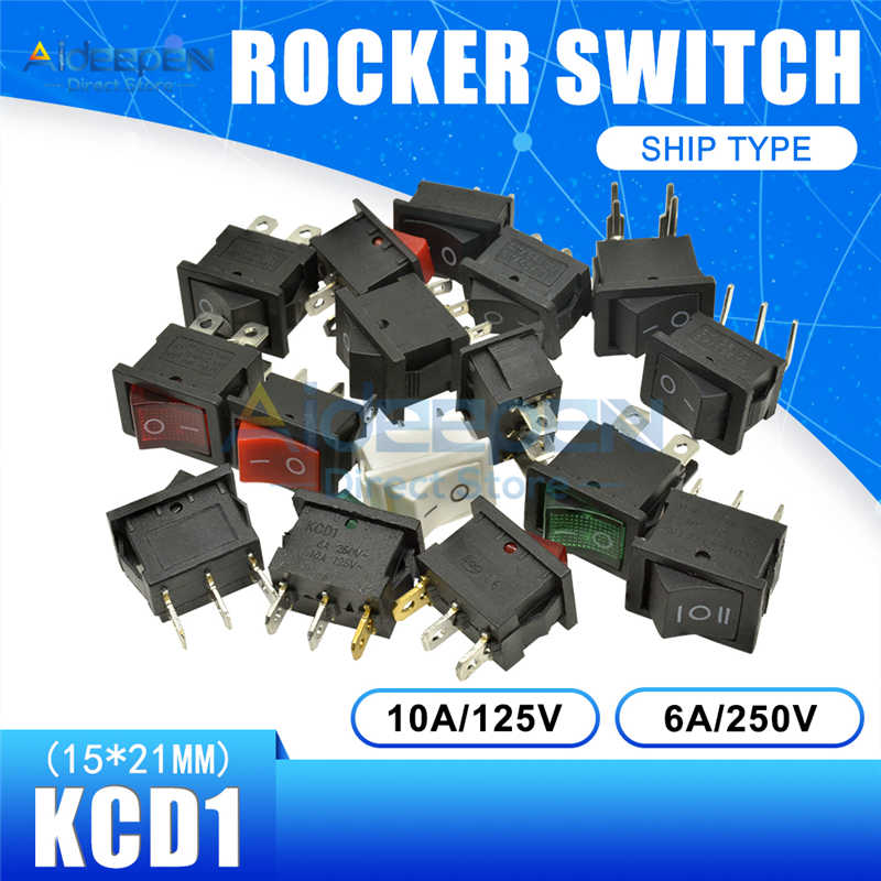 KCD1 15X21 Mm Perahu Rocker Switch AC 10A/125V 6A/250V 2 File 3 file 2/3/4/6 Tembaga Kaki Tombol Switch 15*21 Mm dengan Tahan Air Cap
