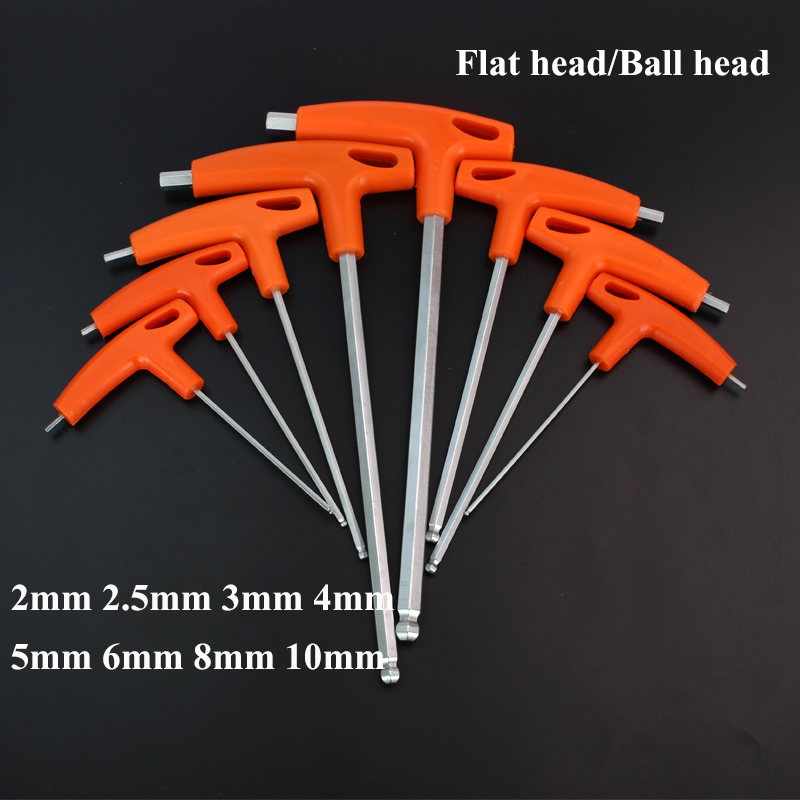 2/2.5/3/4/5/6/8/10mm Flat/Ball head Hex key allen wrench Hand tool T-Handle Hex Key Wrench Ball End Allen Hex Key Wrench Spanner