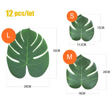 12Pcs Artificial Monstera Palm Leaves  for Tropical Hawaiian Luau Theme Party Decoration Jungle Wedding Birthday Party Supplies summer tropical luau party banner bunting garlands hawaiian beach theme birthday party diy decoration flamingo party palm leaves
